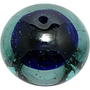 SOLD Coblat Blue Art Glass Paperweight Hand Made Seeded Studio