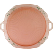 Anchor Hocking Mayfair Pink Depression Glass Platter Satin Frosted Hand Painted