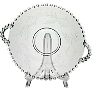 Imperial Glass Candlewick Platter Floral Cutting Flowers Handled Plate