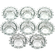 SOLD Imperial Glass Candlewick Individual Salt Dips Vintage Elegant Glass Crystal Set 8
