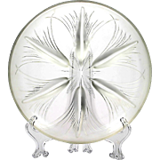 Heisey Verlys Art Glass Tassels Bowl Frosted Crystal Centerpiece Large