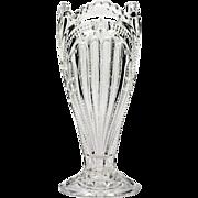 EAPG Ribbed Ellipse Higbee Vase Antique Pressed Glass Admiral 1905