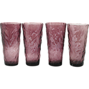 Amethyst Crinkle Glass Tall Tumblers Art Glass Vintage Wrinkle