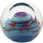 SOLD Glass Eye Studio Uranus Paperweight Celestial Series Art Glass Hand Made