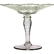 New Martinsville Prelude Crystal Compote Etched Glass Vintage 1940s Viking