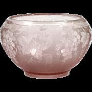 SOLD Fostoria Grape Brocade Orchid Elegant Glass Bowl Vintage 1920s Etched