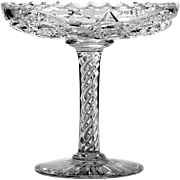 Signed Clark American Brilliant Cut Glass Compote Air Twist Stem Airtwist Antique Crystal