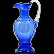 Fenton Cobalt Blue Art Glass Pitcher Vintage 1990s Elegant Glass Hand Blown American