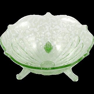 Fenton Art Glass Green Ming Bowl Vintage 1930s Candy Dish Uranium Glass Etched