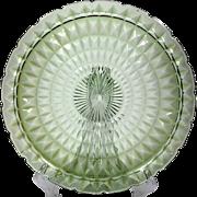 Jeannette Windsor Green Depression Glass Torte Chop Plate Vintage 1930s