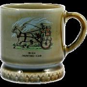 Wade Irish Porcelain Mug Cup Jaunting Car Design Green Blue Vintage