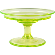 Tiffin Vaseline Glass Compote Cheese and Cracker Vintage Elegant Glass