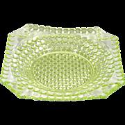 """Adams Thousand Eye Vaseline Glass 10"""" Dinner Plate EAPG Sensation 1885"""