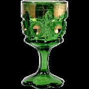 Bulls Eye and Daisy EAPG Green Wine Goblet Antique Glass Gold