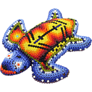Huichol Bead Art Turtle Mexican Indian Hand Crafted Bright Colours