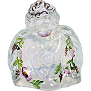 Fenton Opalescent Art Glass Angel Figurine Hand Painted Flowers 95th Anniversary