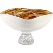 Murano Glass Tutti Fruitti Bowl Footed Vintage Glass Mid Century Modern