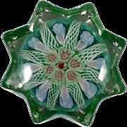 SOLD Strathearn Millefiori Art Glass Paperweight Scottish P12 Vintage Green