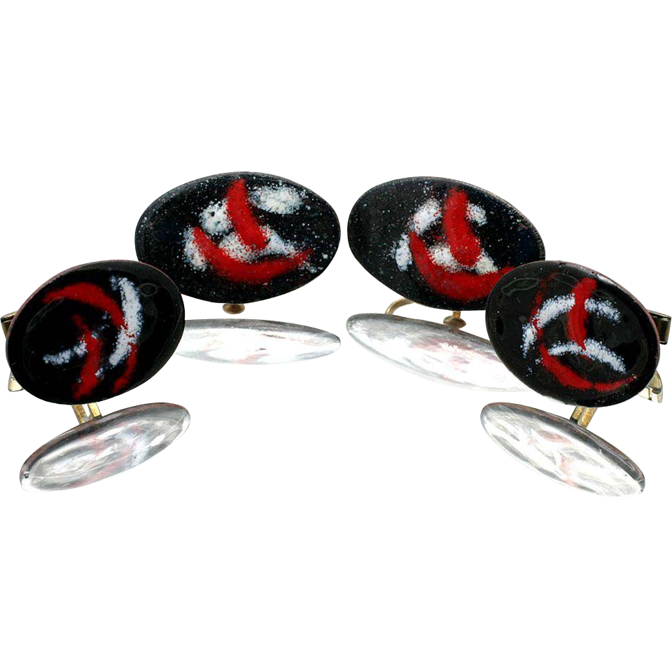 Enamel on Copper Mid Century His and Hers Clip Earrings and Cuff Link Set.