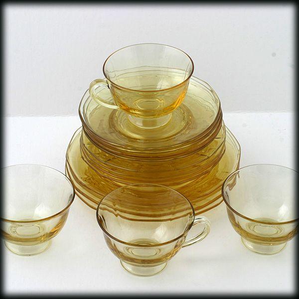 Fostoria Fairfax Topaz Luncheon Set Elegant Glass Vintage 1920s 16 piece