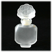 SALE French Perfume Bottle Vintage Frosted Crystal Flower
