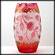 SOLD Harrach Jewel Cranberry Acid Cut Back Large Vase Ruby Gold Flowers Antique Art Glass