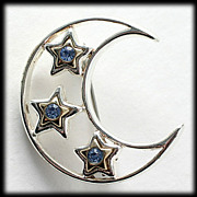 Blue Rhinestone Moon and Star Silver Tone Brooch