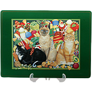 Pimpernel Placemats Christmas Cats Set 4 Large 12 x 17 English Cork Backed