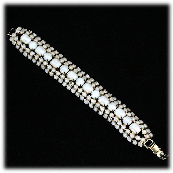 Vintage Opalescent Rhinestone Bracelet 1940s Moonglow Glass