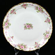 Elite Limoges Porcelain Plate Pink Roses Flowers Gold Trim
