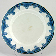 J & G Meakin Ipswich Salad Plate Blue and White Gold Trim Antique