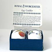 Royal Worcester Egg Coddler Pair Palmyra Evesham In Original Box