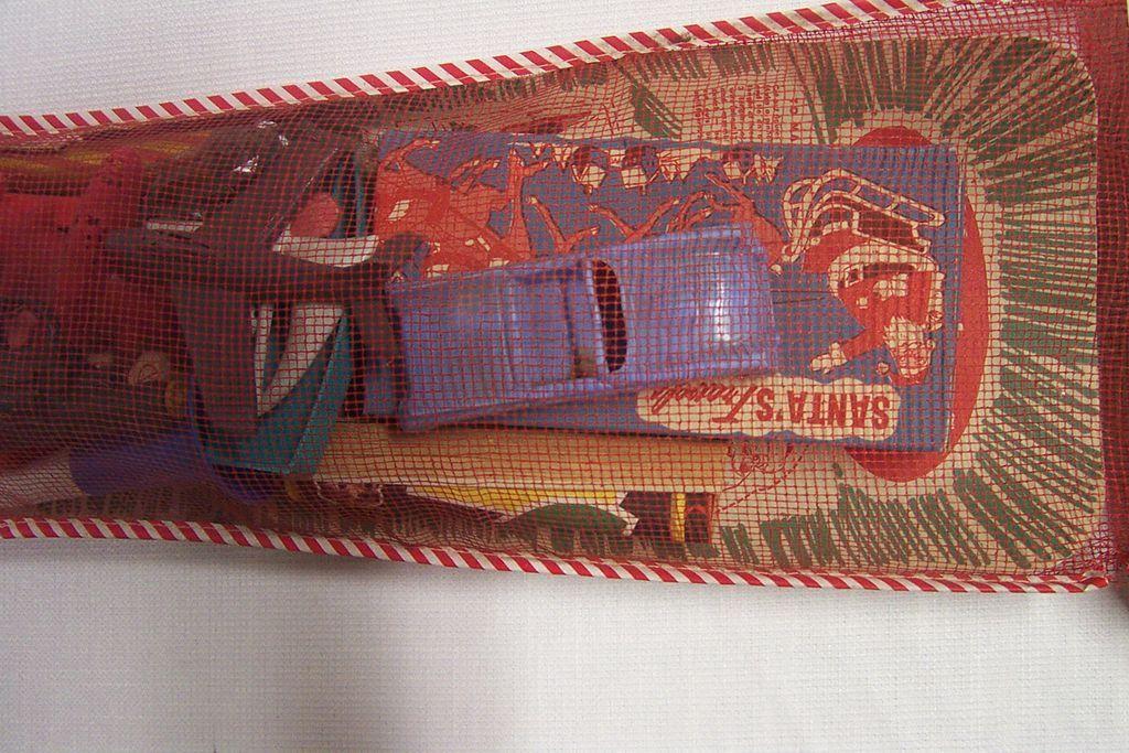 Vintage Mesh Christmas Stocking Toys Games Filled Unopened