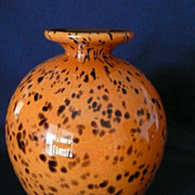 Art Glass Vase in Orange Leopard Tones