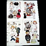 Four Dolly Dingle Paper Dolls Uncut