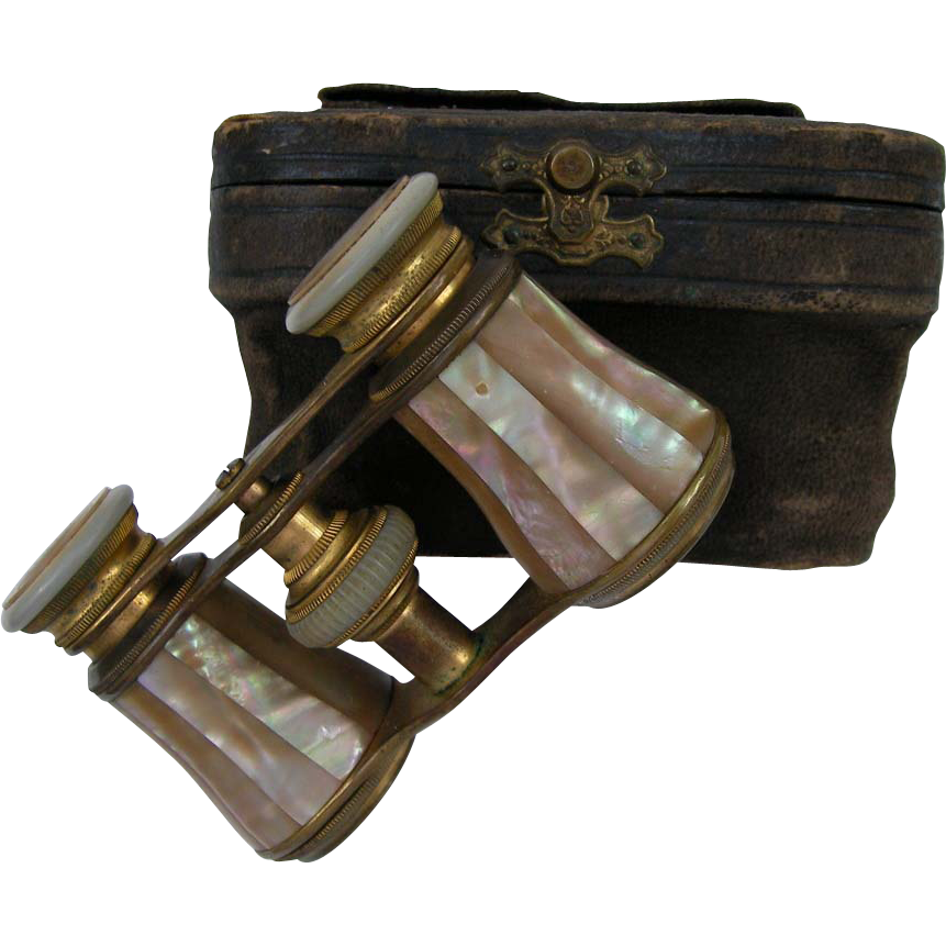 Mother Of Pearl Opera Glasses With Case, France