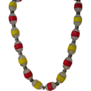 Vintage Art Deco Multi Colored Molded Glass Beads Chocker