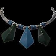 Jacob Bengel Modernist Necklace - Galalith & Chrome - Circa 1930