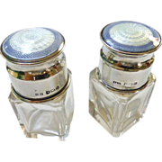 Pair Of Antique Crystal Perfume Vanity Bottle With Sterling Silver & Guilloche Enamel Tops