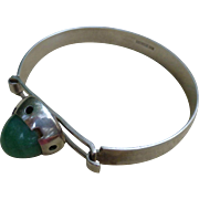 Scandinavian Style Sterling Silver And Green Agate Bangle Bracelet - 1960's