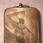 C.1880 French Cigar Case or Etui, Carved Black Mother of Pearl