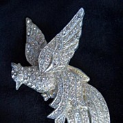 Rhinestone Bird Brooch Pin