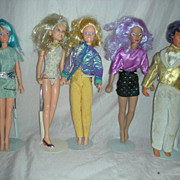 Vintage Set of Jem, Rio, Aja, Raja and video Dolls by Hasbro 1980s