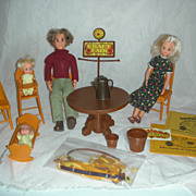 Vintage Mattel Sunshine Family Dolls and furniture