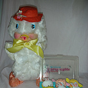 Vintage Rubber Face Stuffed Duck and Box of Bunnies and Chicks Easter Toys