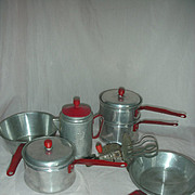 Vintage Child Size Toy Aluminum Dishes Red Handle Little Bo Peep Coffee Pot