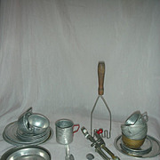 Vintage Child Size Red Handle Pots with Bo Peep Dishes Aluminum
