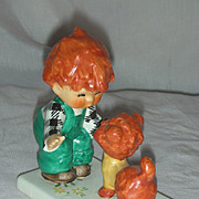 Vintage Red Head Figurine Atta Boy Goebel Charlot Byi with Dog