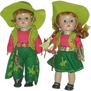 Vintage Vogue Painted Lash Ginny Dolls Cowboy and Cowgirl 1950s