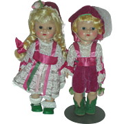 Vintage Vogue Painted Lash Ginny Dolls Hasel and Gretel Dolls